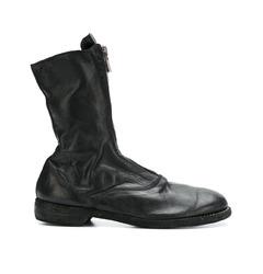 кожаные ботинки на молнии спереди
