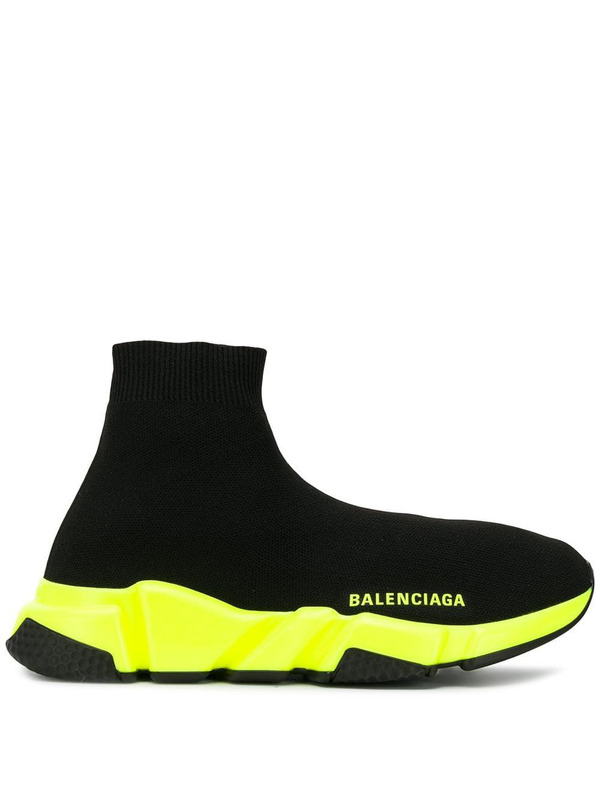 кроссовки-носки Balenciaga Speed Trainer (black/neon yellow)