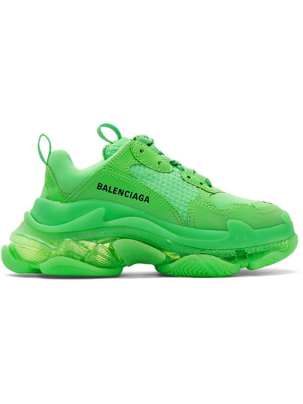кроссовки Triple S Clear Sole 'Fluo Green'