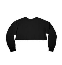 Frayed Twill Crop Top Black