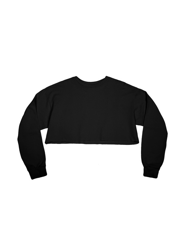Frayed Twill Crop Top Black