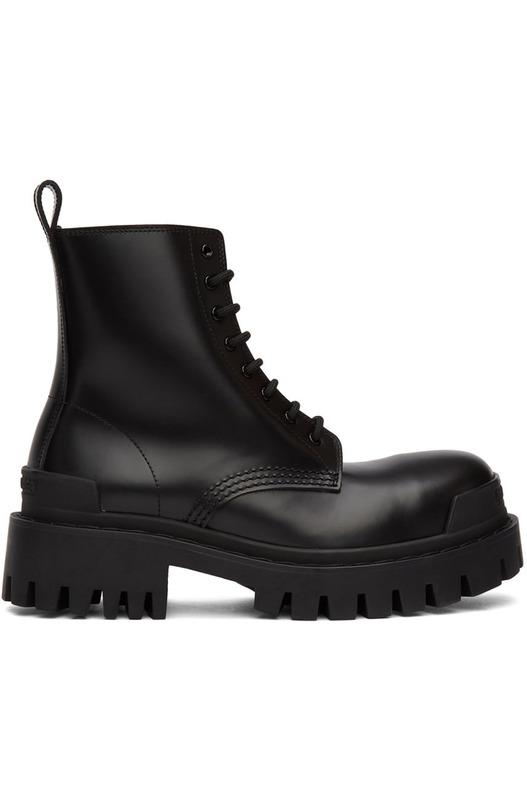 Черные кожаные ботинки Strike Lace-up Balenciaga, фото