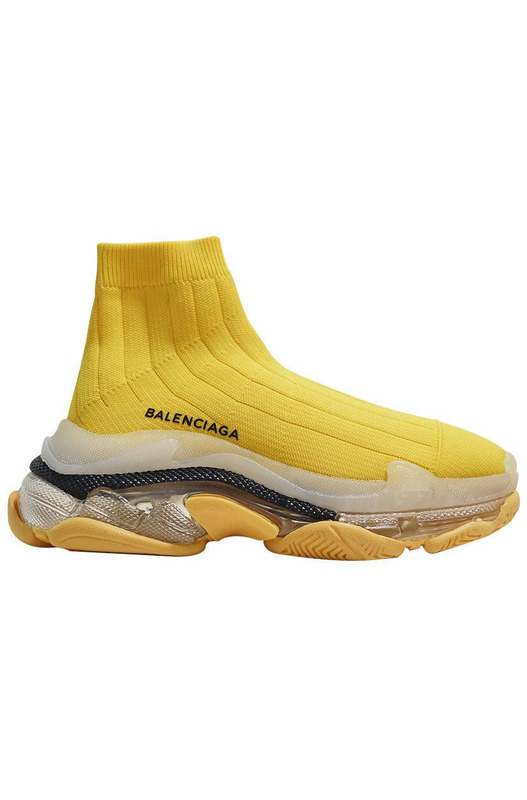 кроссовки Triple S Air knit Mid Sock Yellow Balenciaga, фото