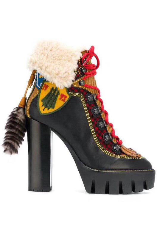 ботинки на толстом каблуке и шнуровке DSQUARED2, фото